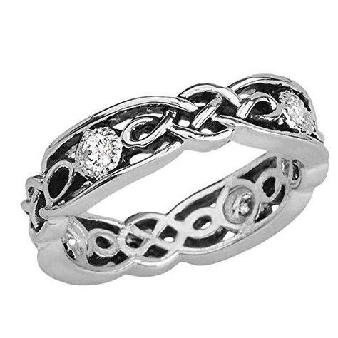 Elegant Black and Sterling Silver CZ Vintage Celtic Knot Wedding Band - 7