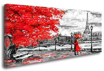Canvas Wall Art Black White Red Umbrella Couple in Street Eiffel Tower Oil Painting Printed on Canvas Romantic Picture Framed Artwork Prints Walls Decor