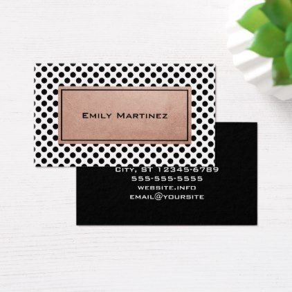 Rose Gold White And Black Polka Dot Business Card Zazzle Com White Rose Gold Black Polka Dot Business Card Pattern