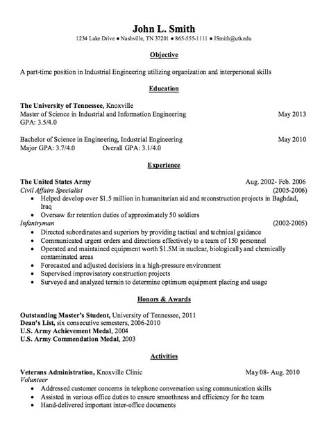 Industrial Engineering Resume Example -    resumesdesign - army civil engineer sample resume