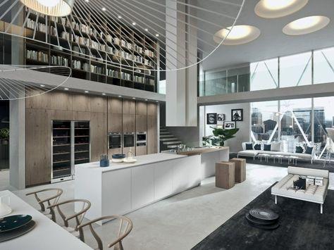 La Cuisine D Un Loft Design Et Moderne Avec Un Grand Lustre