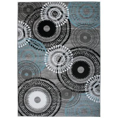 World Rug Gallery Modern Circles Blue Gray 9 Ft X 12 Ft Indoor Area Rug Blue Grey Modern Area Rugs Area Rugs Colorful Rugs