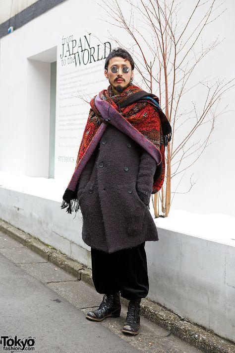 Harajuku guy in round sunglasses, The Viridi-anne knit coat, Sonia Rykiel pants & lace up boots.