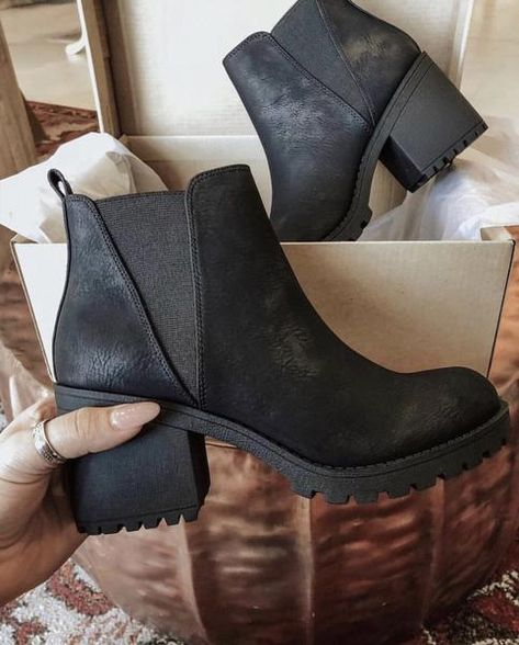 Chinese Laundry Lisbon Bootie In Black Black Leather Boots, Black Ankle Boots, Black Booties, Leather Slip Ons, Heeled Boots, Shoe Boots, Patent Leather, Fall Booties, Fall Shoes