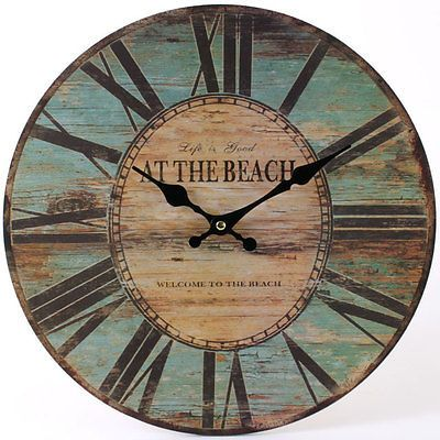 Large Wall Clock Kitchen Retro Picture Shabby Chic Cafe Decor Vintage Beach New