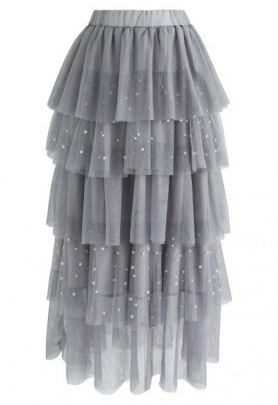 Stay with You Crochet Tulle Mesh Skirt in Grey - Retro, Indie and Unique Fashion