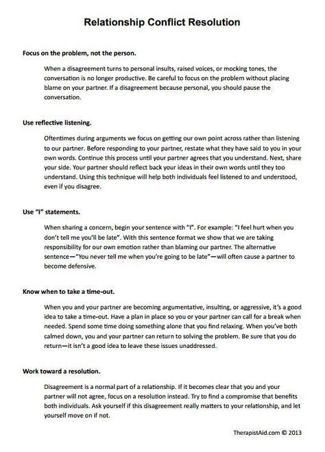 Relationship Conflict Resolution Worksheet Therapist Aid Relationship Conflict Resolution Relationship Conflict Relationship Therapy