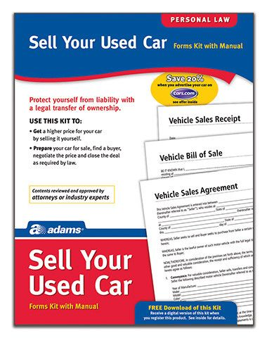 Sell Your Used Car Forms and Instruction (Set of 4) Products - vehicle sales agreement