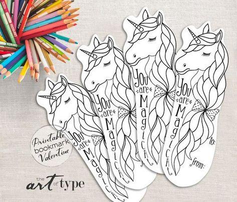 Licorne Partie Favor Craft Imprimable Coloriage Page Signet