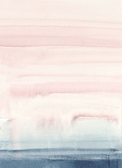 Dreamy Watercolor Print In Soft Pastel Colors Of Pink And Blue