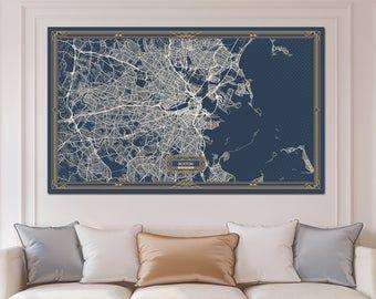 Portland Me Maine Canvas Canvas Map Print Art Deco Extra Large Etsy Horizontal Wall Art Wall Art Canvas Prints Vertical Wall Art