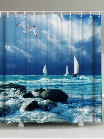 Sea Wave Print Water Resistant Shower Curtain Ocean Shower Curtain Bathroom Shower Curtains Christmas Shower