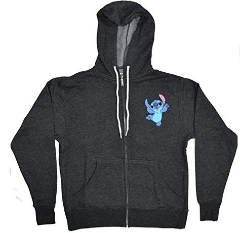Disney Lilo and Stitch Peekaboo Fron Zip Hoodie Extra Large  Charcoal Heather * Learn more by visiting the image link.