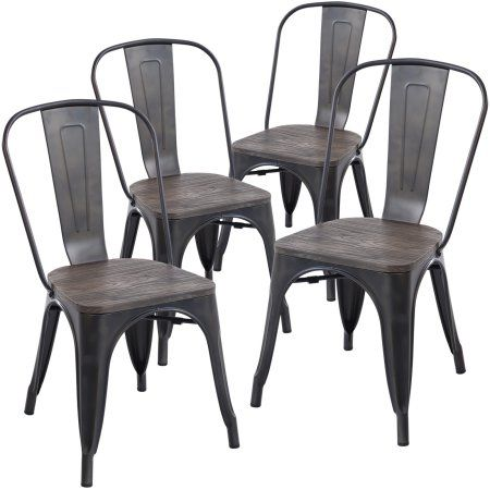Edgemod Trattoria Side Chair With Elm Wood Seat In Bronze Set Of 4 Walmart Com In 2020 Side Chairs Side Chairs Dining Farmhouse Dining Chairs