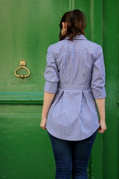 Bruyère Shirt by Mamie Project Sewing Shirts Tanks Tops Kollabora Umgestaltete Shirts, Men's Shirts And Tops, Sewing Shirts, Sewing Clothes, Diy Clothes, Clothes For Women, Sewing Men, Dress Sewing, Tank Tops
