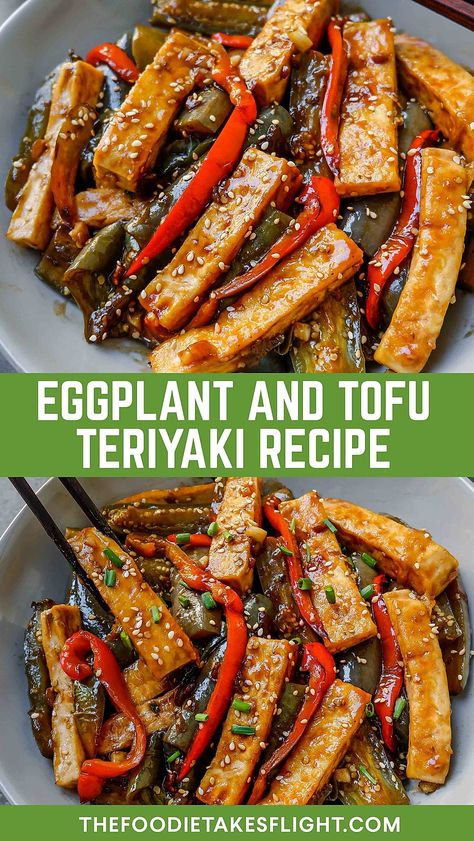 Eggplant and Tofu Teriyaki (Vegan Recipe) Eggplant Tofu Recipe, Vegan Eggplant Recipes, Eggplant Dishes, Tofu Dishes, Easy Homemade Recipes, Vegan Recipes Easy, Asian Recipes, Healthy Dinner Recipes, Chinese Tofu Recipes