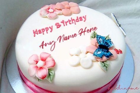 Pleasant Write Name On Pink Flowers Birthday Cake With Name Edit Birthday Funny Birthday Cards Online Elaedamsfinfo