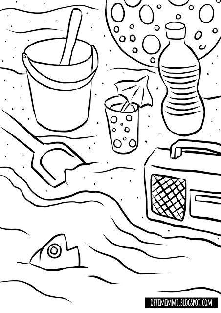 Optimimmi A Free Printable Coloring Page Of Summerlike Day On A Beach Ilmainen Tulostettava Varityskuva Ke Coloring Pages Free Coloring Free Coloring Pages