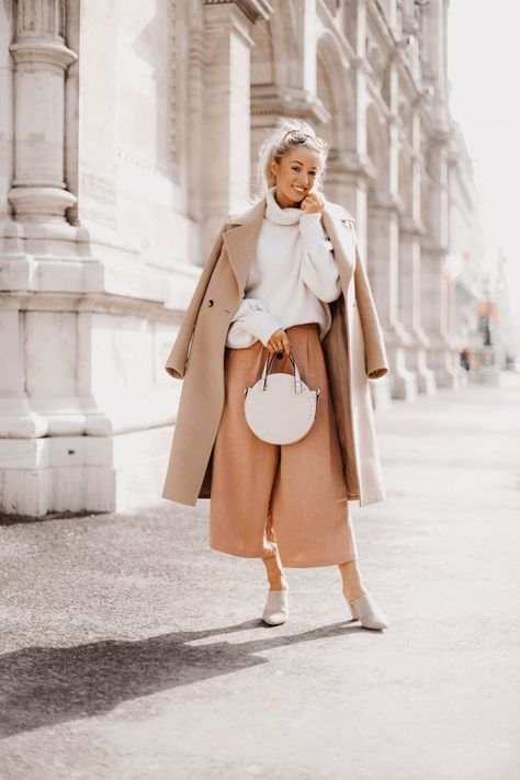 Spring in Vienna - Fashion Mumblr | light neutrals outfit featuring beige coat, clay linen pants, and cream sweater | #neutrals