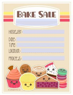 Lovely Free Bake Sale Flyer, Price Tags, Labels, Etc.