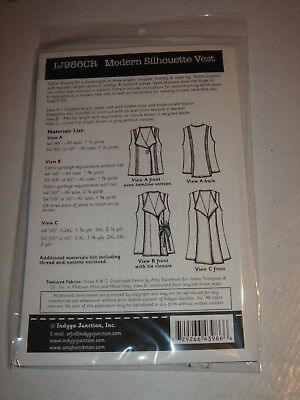 Modern Silhouette Vest # IJ986CR INDYGO JUNCTION New Sewing Pattern