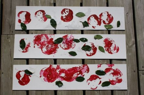 apple stamping with real leaves from the garden - happy hooligans - fall arts and crafts for kids