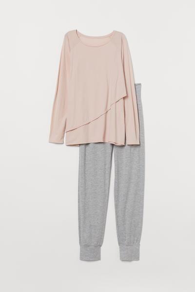 Mama Nursing Pajamas Powder Pink Light Gray Melange Ladies H M Us Nursing Pajamas Nursing Loungewear Maternity Pajamas