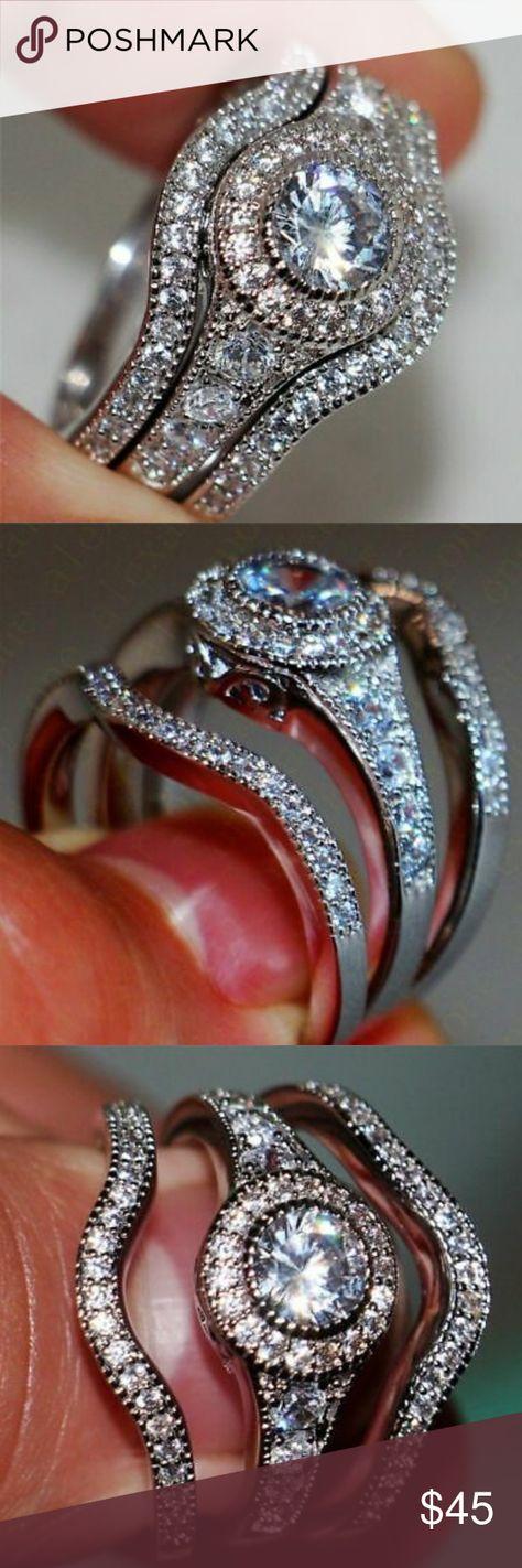 Spotted while shopping on Poshmark: 3-Pc Lab Created Sapphire White Gold Wedding Set! #poshmark #fashion #shopping #style #Jewelry