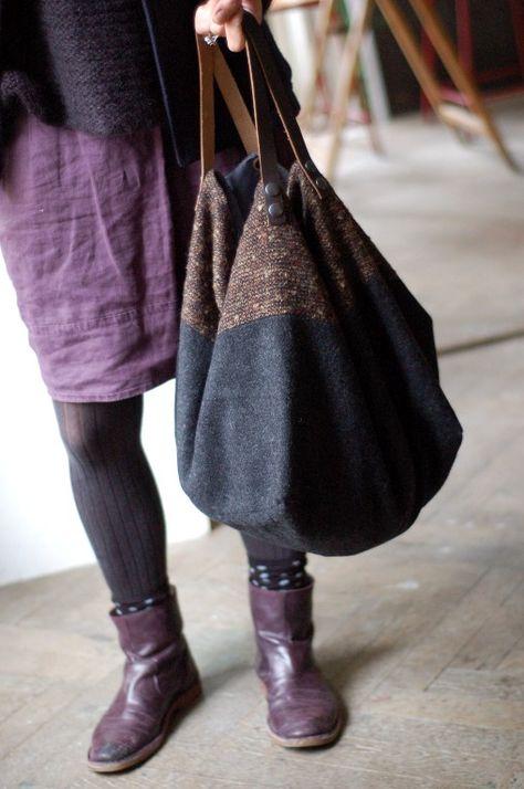 Sac cabas fait main en laine grise et chinée marron
