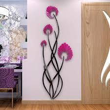 Simple Wall Paintings, Wall Painting Decor, 3d Mirror Wall Stickers, Wall Stickers Home Decor, Wall Art Designs, Wall Design, Flower Mural, Flower Wall Decals, Home And Deco