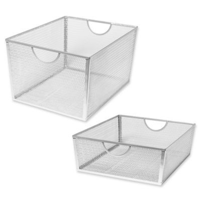 Keep Your Home Neat And Tidy Using These Wire Nesting Storage Baskets From Seville Classics The Wire Mesh B Storage Baskets Basket Sets Under Cabinet Drawers
