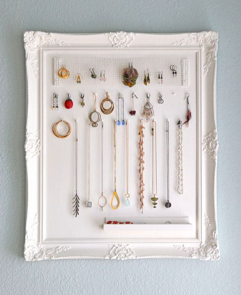 Framed jewelry organizer.