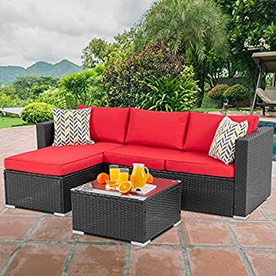 Amazon Com Walsunny Outdoor Furniture Patio Sets Low Back All Weather Small Rattan Sectional Sofa With Tea Furniture Sofa Set Red Patio Conversation Set Patio