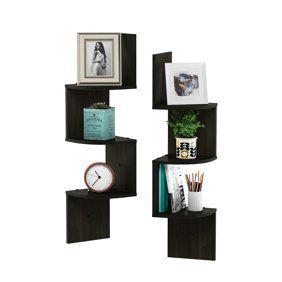 4d Concepts Wall Mounted Corner Storage Chocolate Walmart Com In 2020 Shelves Large Corner Shelf Wall Mounted Shelves