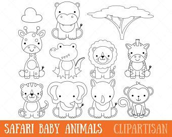 Safari Baby Animals Clipart Jungle Animals Clipart Zoo Etsy Safari Baby Animals Baby Animal Art Zoo Animal Coloring Pages
