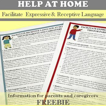 Parent Friendly Information And Helpful Tips For Enhancing Expressive And Receptive Language Skills The Downlo Receptive Language Parents As Teachers Handouts