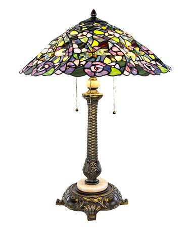 Love This Tiffany Style Stained Glass Purple Pansy Table Lamp On