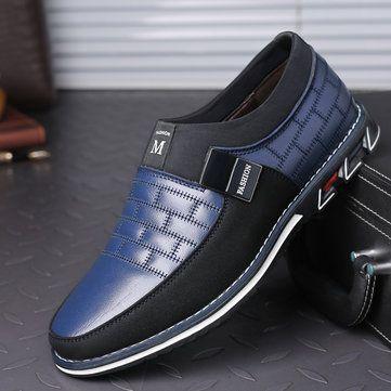 Men Genuine Leather Stitching Slip On