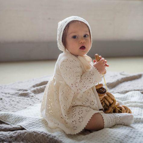 Taufe Outfit Stricken Baby Mädchen Natürliche Weiße Spitze