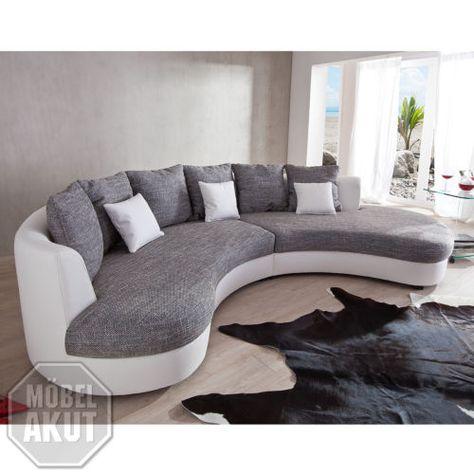 Wohnlandschaft rundecke  Wohnlandschaft-Limoncello-Sofa-Polstermoebel-in-weiss-und-grau ...