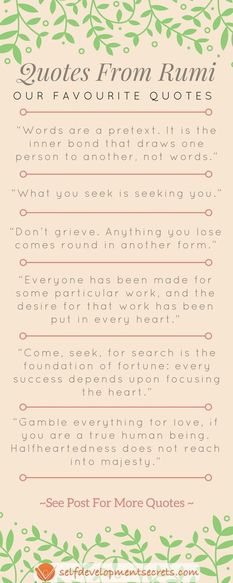 Rumi was a very wise philosopher. Here are some favourite quotes from Rumi! Which ones do you like? #rumiquotes #rumi #quoteoftheday #quotestoliveby #motivationalquotes #quotesdaily