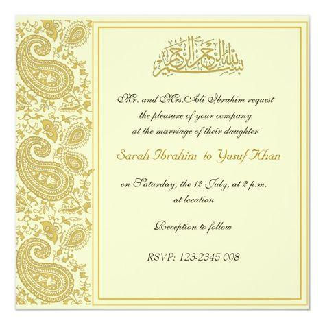 Gold Muslim wedding Invitation #indian #india #wedding #party #paisley #pattern #formal #elephant #gold