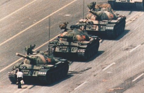 A demonstrator confronts a line of People's Liberation Army tanks during protests for democratic reform. (Charlie Cole)