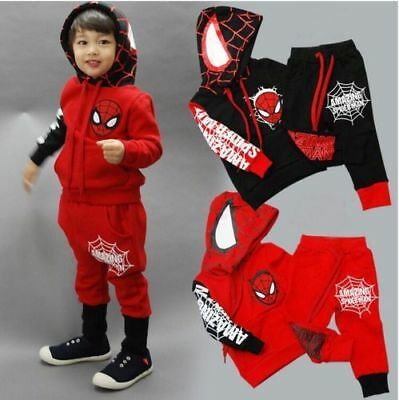 Kids Boys Spiderman Tracksuit Set Hoodie Pullover Top Long Pants Outfits Clothes