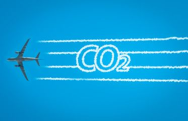 Airplane leaving jet contrails with CO2 word inside. Suitable for  ecofriendly and sustainable journey concepts and the negative… |  Negativity, Sustainability, Words