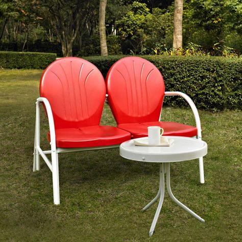 Crosley Griffith 2 Piece Metal Outdoor Conversation Set Metal