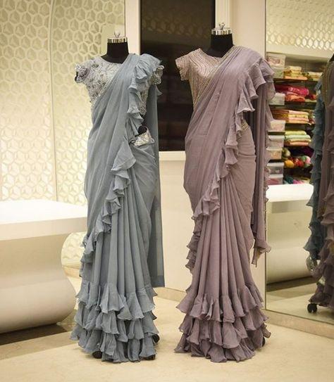 Beautiful cotton-satin Saree with ruffles. #g3