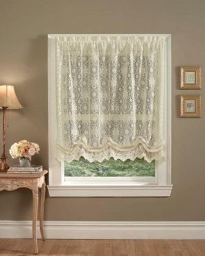 Hopewell Is A Heavyweight Jacquard Lace Balloon Shade With A Scalloped Bottom Edge Shade Length May Be Adjusted Balloon Shades Balloon Curtains Lace Curtains