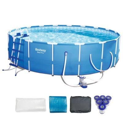 Bestway Bestway Steel Pro 18 Ft X 48 In Frame Pool Set Plus 6 Coleman Replacement Cartridges 56463e Bw 6 X 90307 Bw The Home Depot Bestway Round Above Ground Pool Swimming Pools