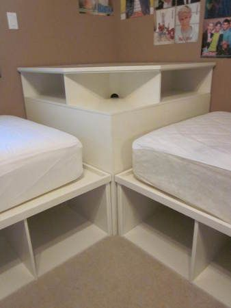 Twin Bedroom Ideas tween/teen 2 twin beds & pottery barn corner unit | ideas for the